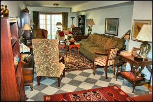 Area rug in a large family room.