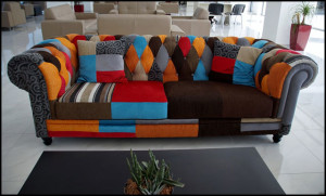 A multi-colored sofa